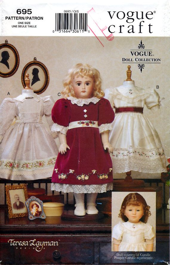 Vogue 695 by Teresa Layman Heirloom Clothes for 18\