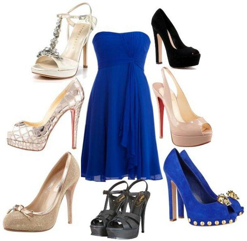 Vestido azul rey corto accesorios