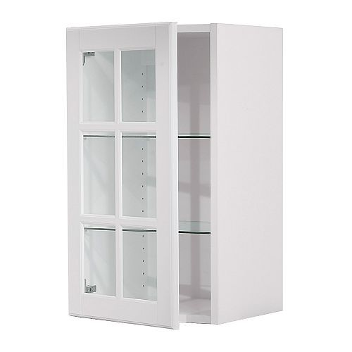 Akurum Wall Cabinet With Glass Door White Lidi White 15x30