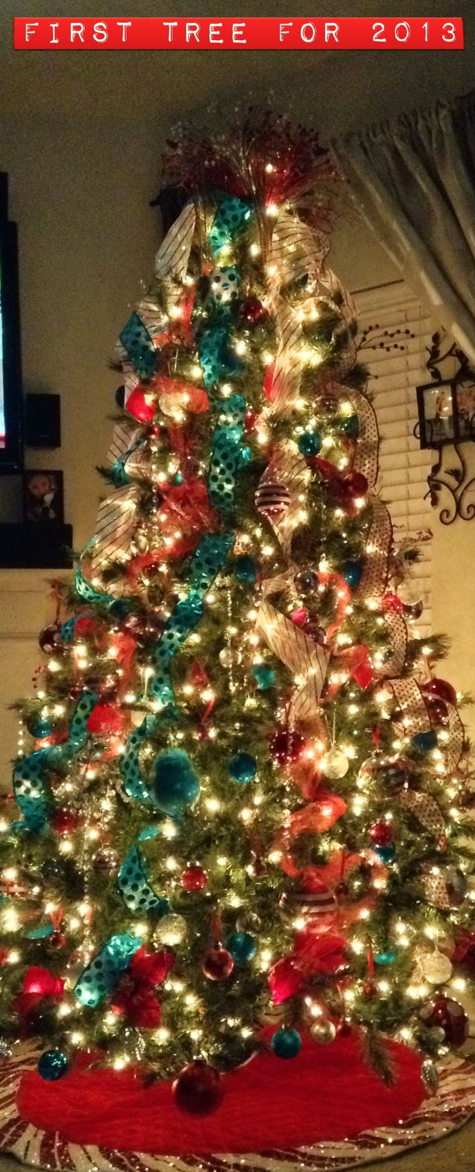 Red, Turquoise and Silver Christmas Tree | Christmas ...