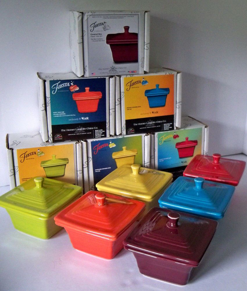 Set of 6 Belk Store Exclusive Fiesta Square Covered Box Claret ...