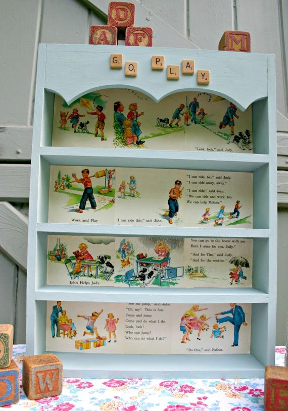 Shelves Lined With Vintage Children S Book Pages Maybe For The Little Brown Bookcase In