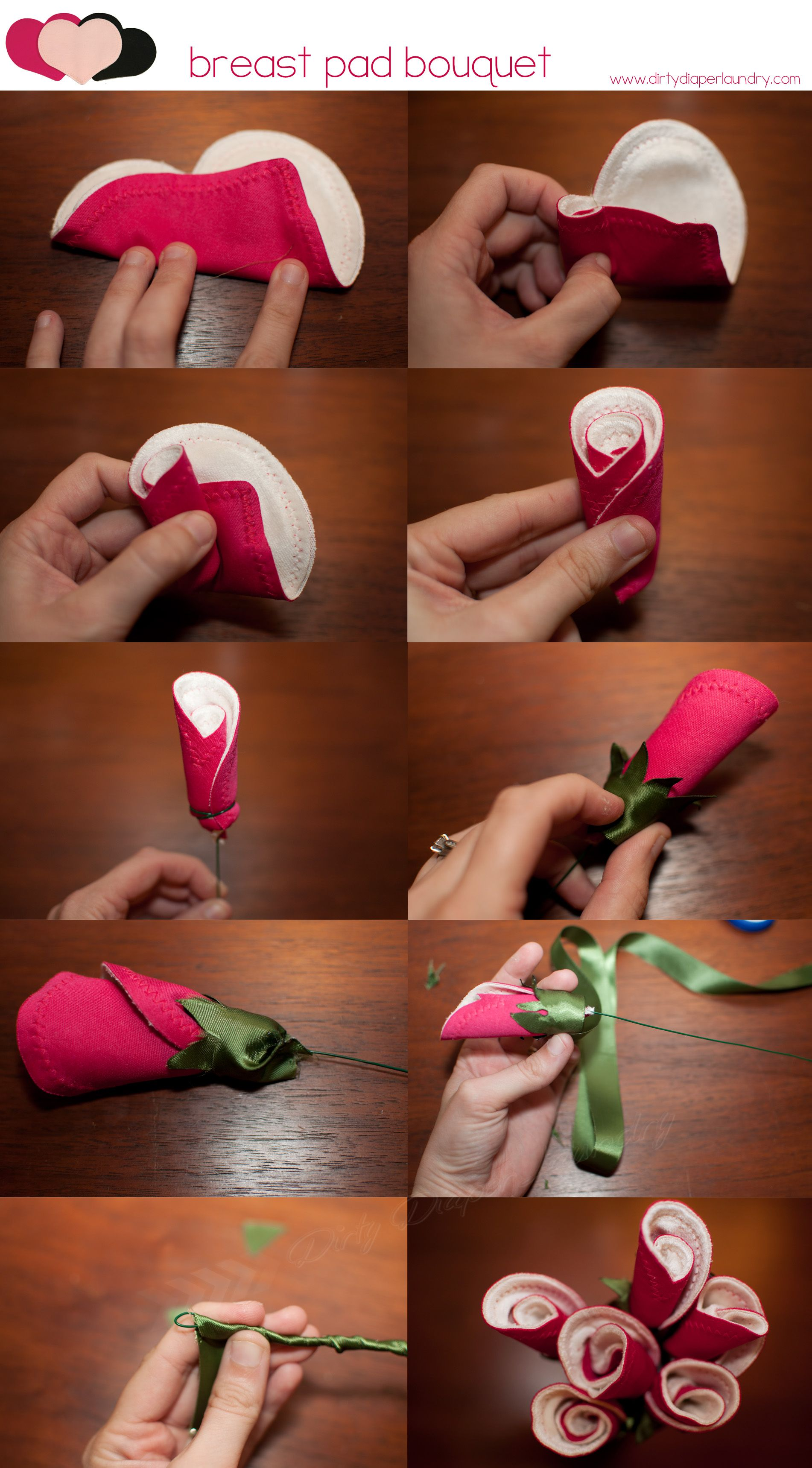 258431ef72 Create a one of a kind baby shower gift using breast pads! Tutorial for a  rose bud bouquet from Dirty Diaper Laundry.