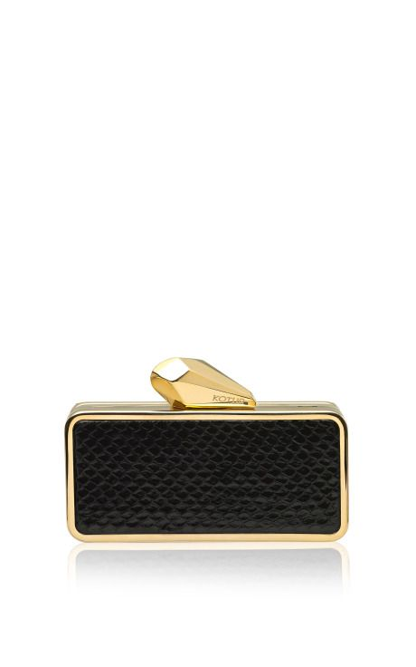 #Getsmartbag Snakeskin Clutch in Black by Kotur Now Available on Moda Operandi