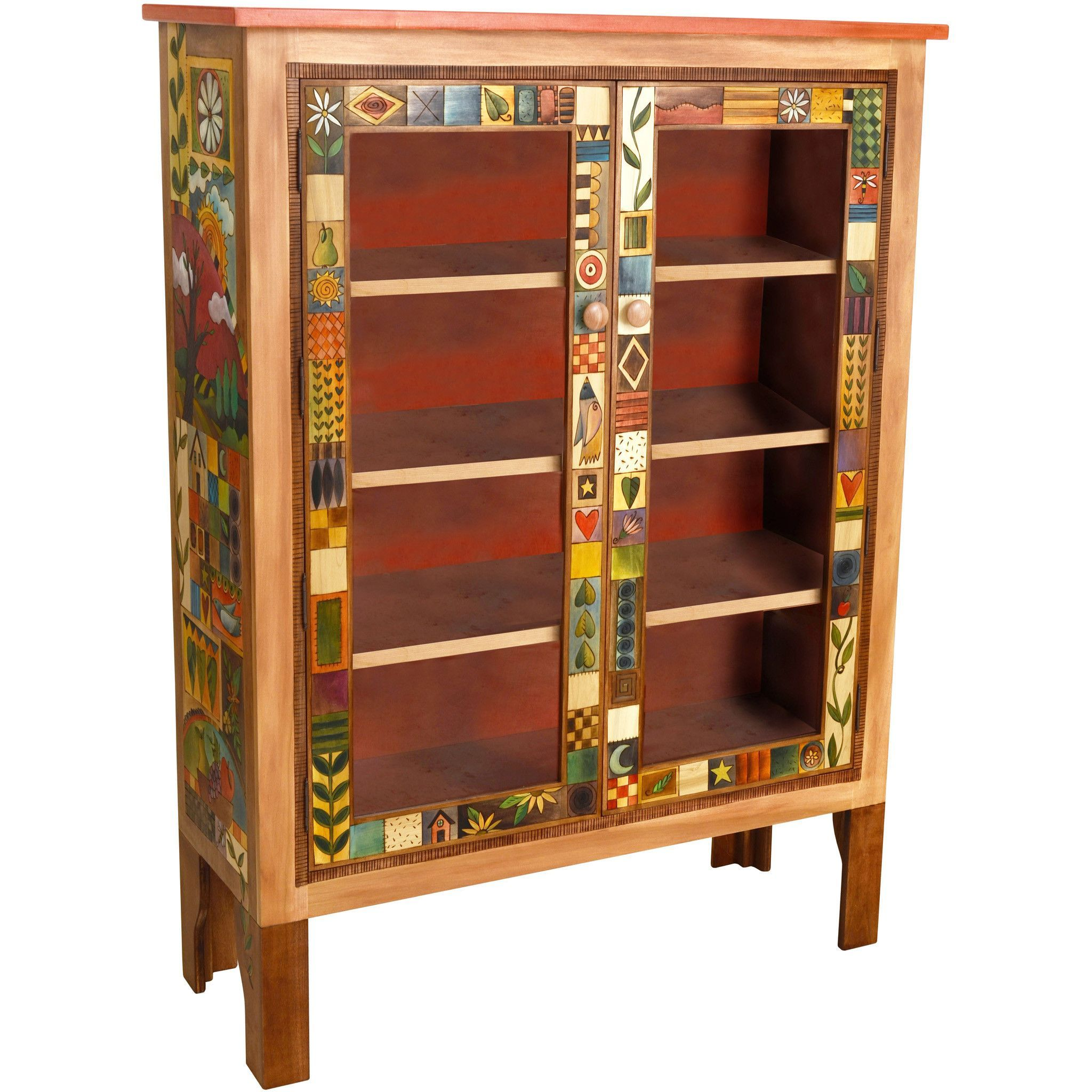 sticks large double door bookcase bcs005-d70951, artistic artisan