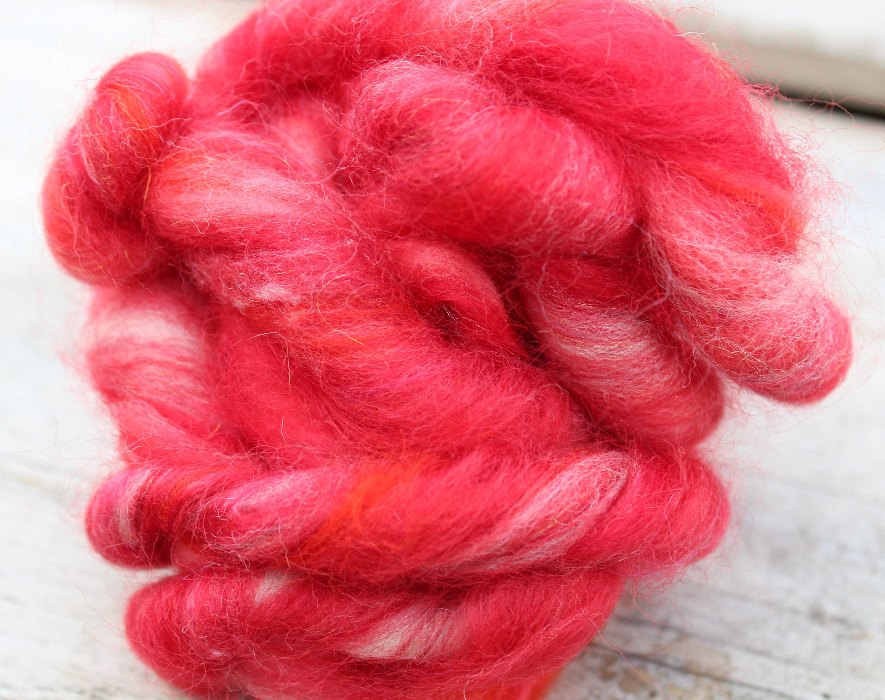 Red roving,red wool,mixed wool,carded wool,dread wool,spinning wool,felting wool,wet felting supplies,needle felting supplies,red felting