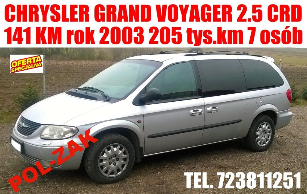 Chrysler Grand Voyager 2 5 Cdr 141 2003r 7 Osobowy Chrysler Grands Voyage