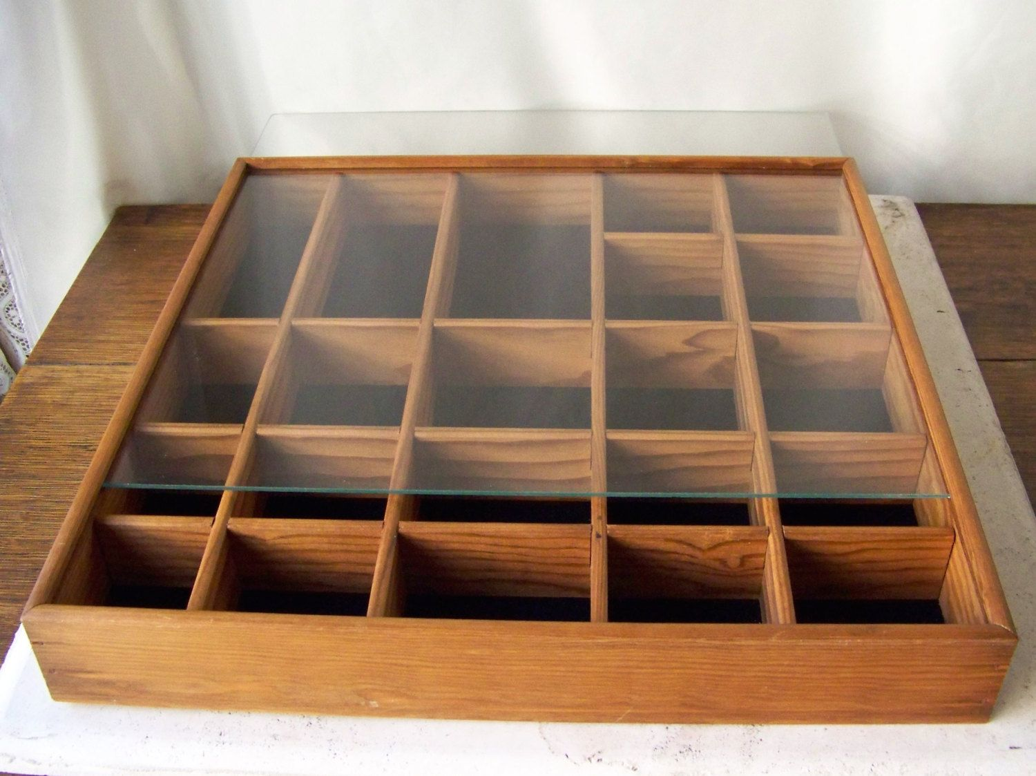 Vintage Display Case Shadow Box Oak Wood Curio Wall Display Cabinet Sliding Glass Cover 1990s By Cynthiasatti Wall Display Cabinet Vintage Display Display Case