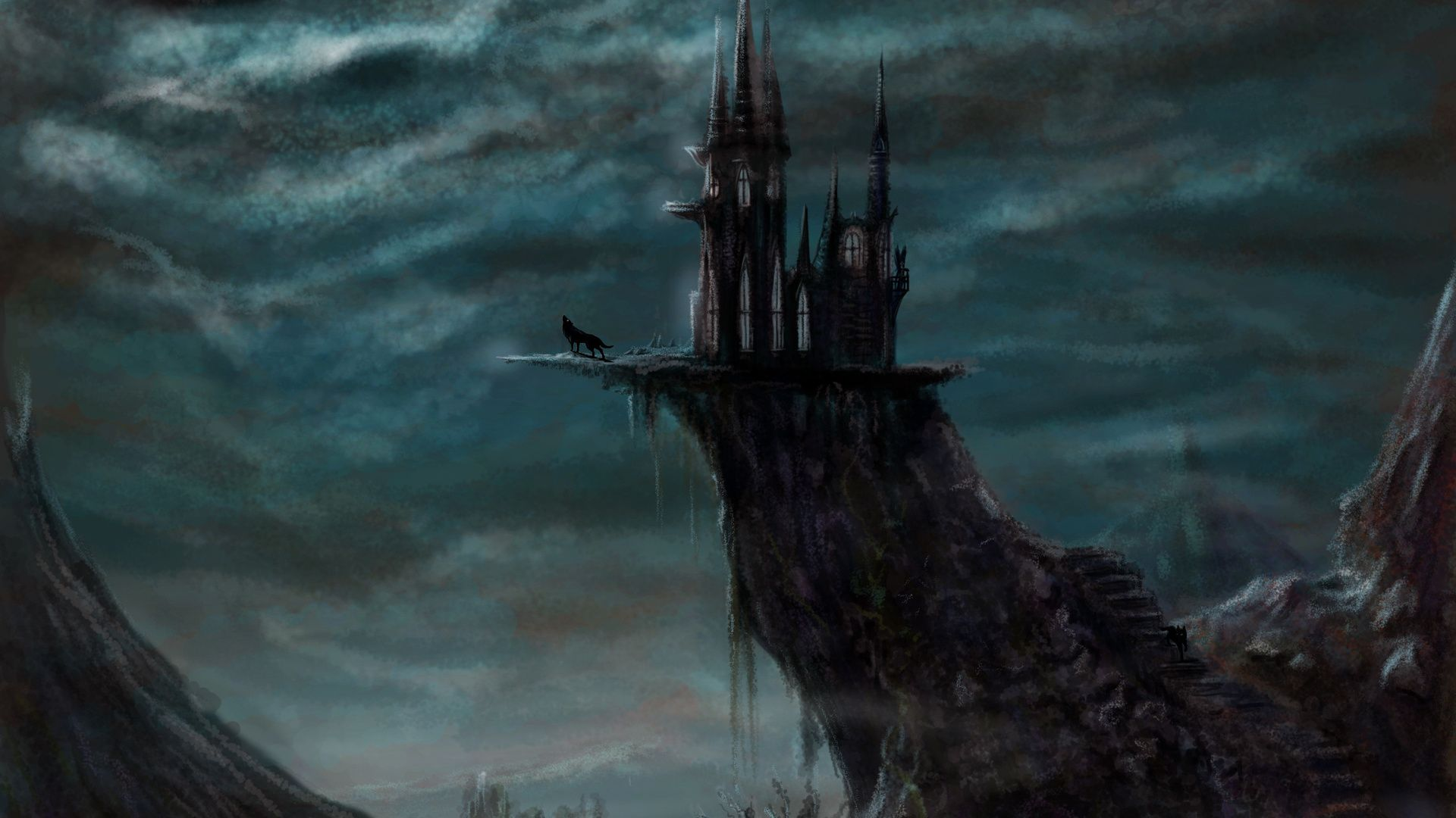 1920x1080 Wolf, Fantasy, Night, The Moon, Art, Castle, Evil Castle ...