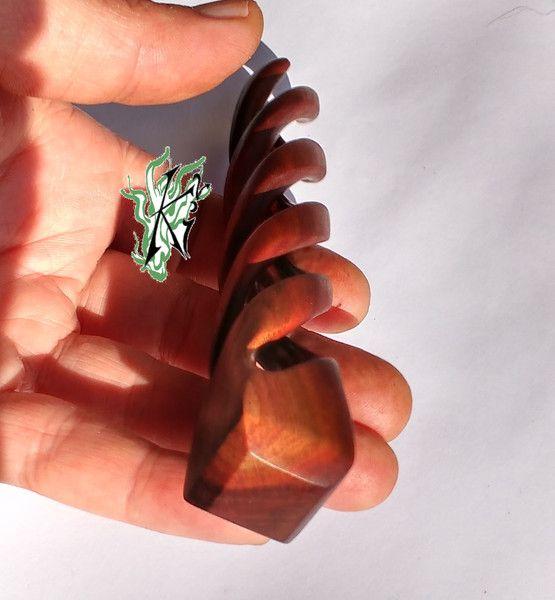 Haarkämme - Haarforke Triple Helix 3zink Zwetschge unikat NL11 - ein Designerstück von JadedracheHaarforken bei DaWanda