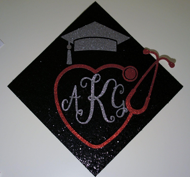 Custom Nurse Monogram With Heart Stethoscope Graduation