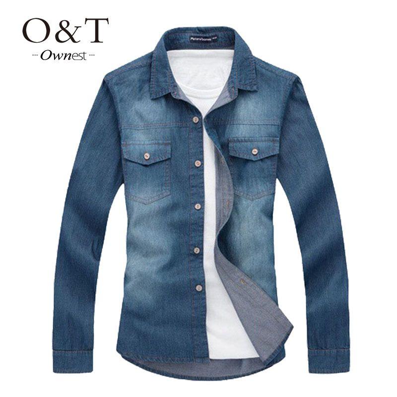 Barato Big Size Men Shirt jeans tamanho grande 5XL algodão Turn down Collar Pockets homens camisas 2015 nova outono de manga comprida azul, Compro Qualidade Camisas Casuais diretamente de fornecedores da China: