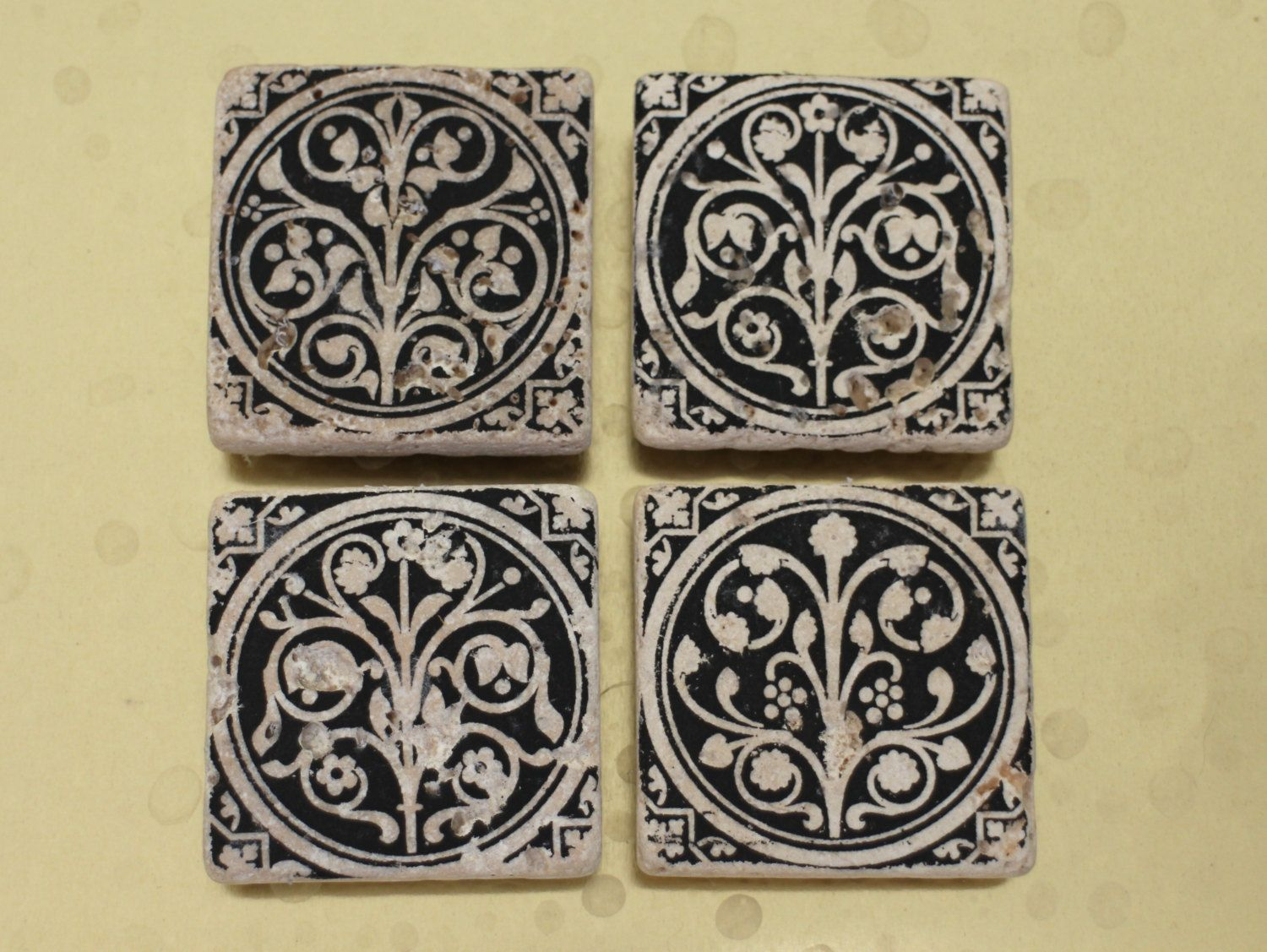 "Set of 4 2x2"" stone tile magnets featuring photo prints of the Sainte Chapelle medieval flowers in Paris France"