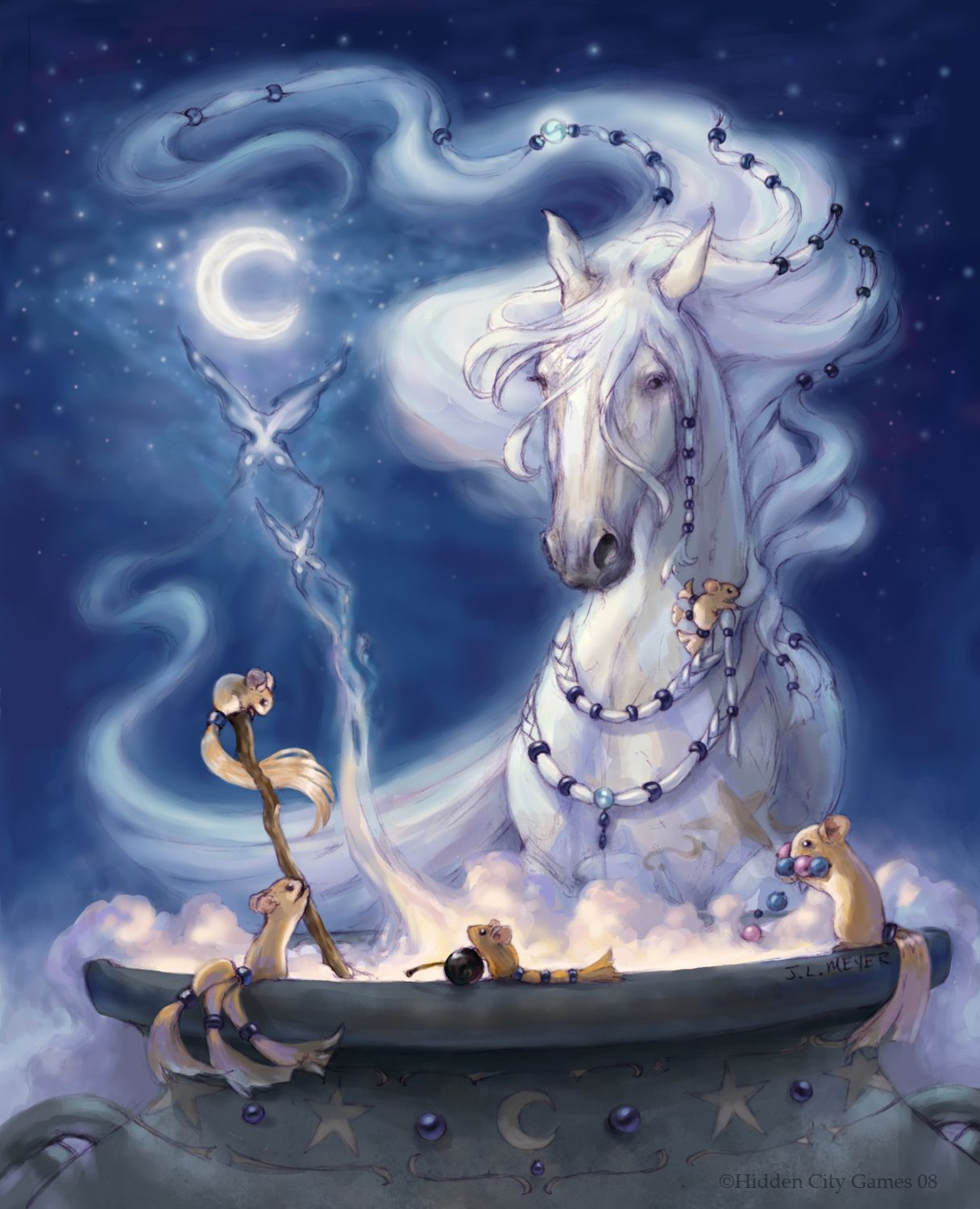 Witch Horse creating butterflies illustration by Jennifer L. Meyer