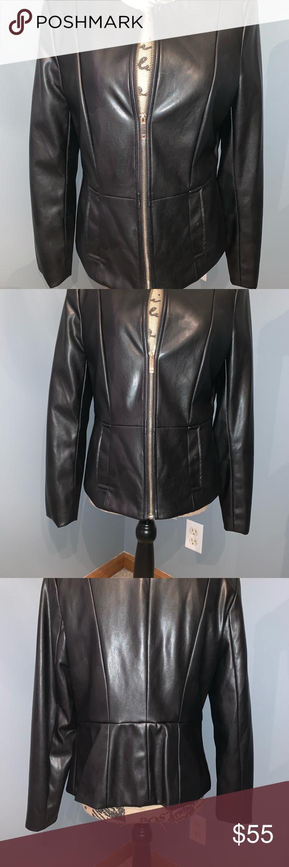 Liz Claiborne Career Black Jacket Sophisticated Black Faux Leather Jacket Gold Tone Zipper Has Pockets Euc Black Faux Leather Jacket Fashion Clothes Design