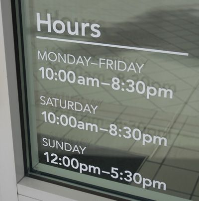 Storefront Window Business Hours Lettering Storefront Dreams - Window decals for business hours