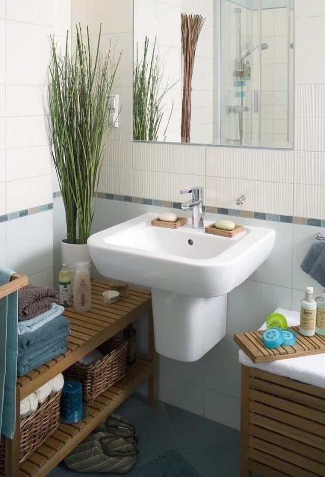 idées-pour-petite-salle-de-bain-étagère-bois-rangement-évier - peinture pour evier ceramique
