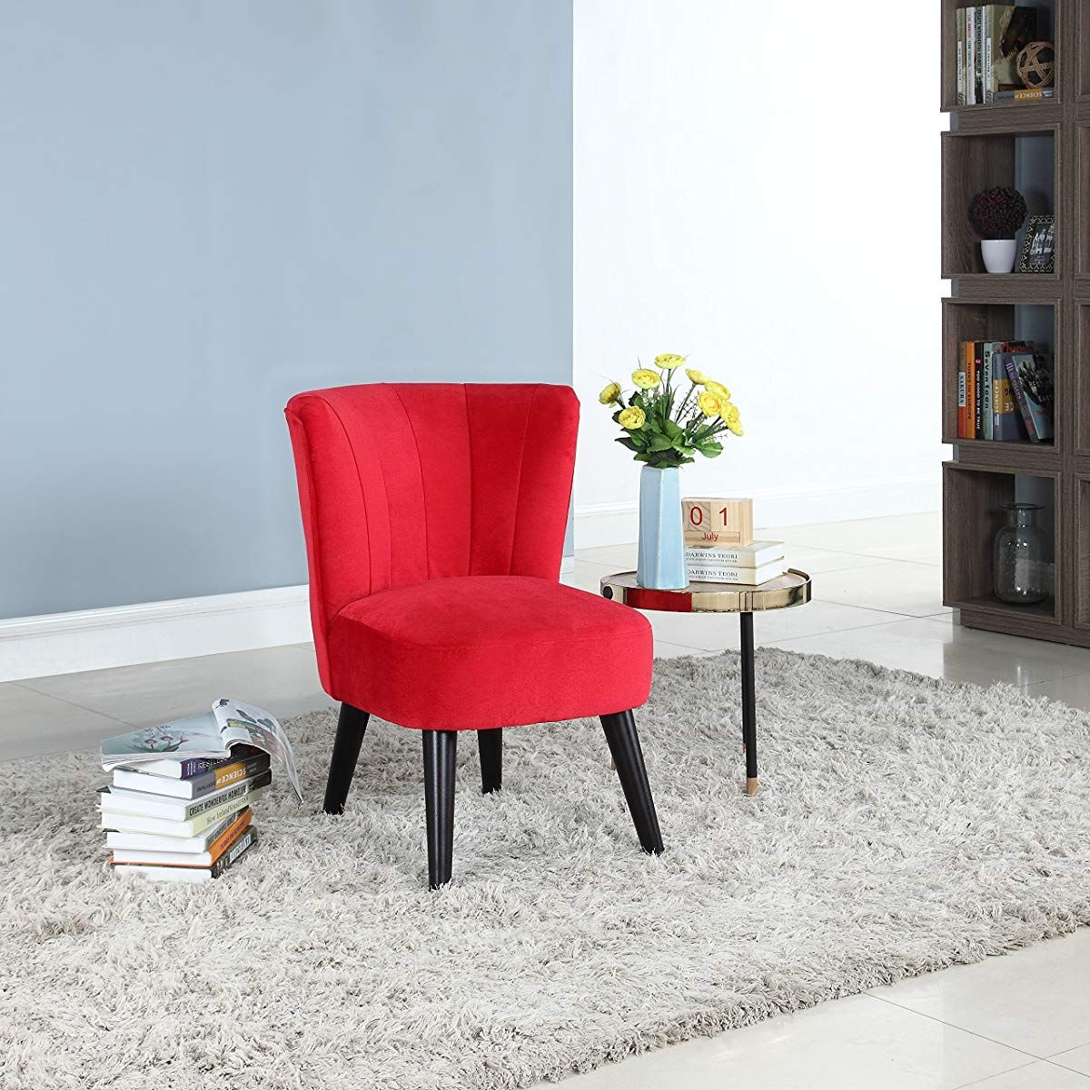 Classic Velvet Fabric Accent Chair Red Living Room Chairs Modern Fabric Accent Chair Accent Chairs For Living Room #red #accent #chairs #for #living #room