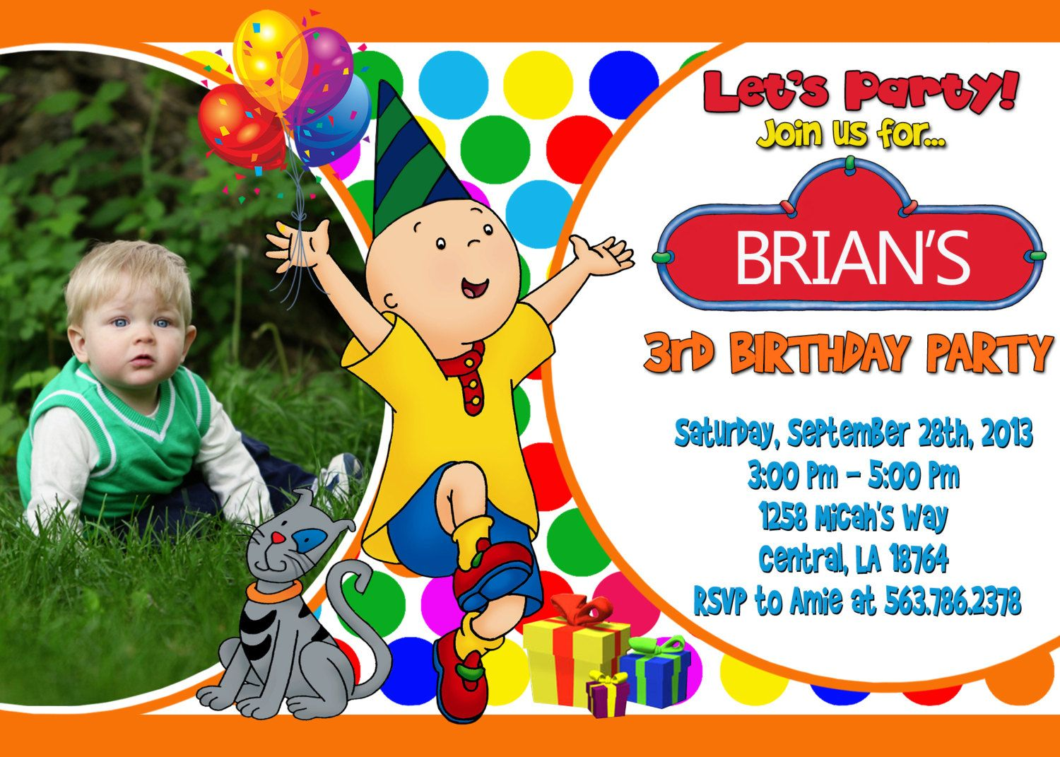 Caillou Birthday Party Invitation Printable by PartyFunPrintable ...