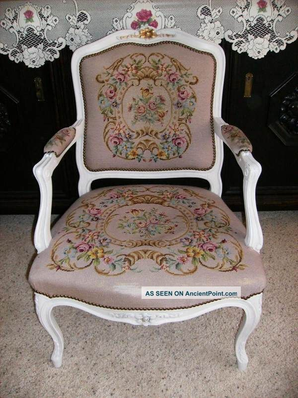 Antique French Needlepoint Chair Pink Or Rose Floral Wood Frame 1900 1950  Photo
