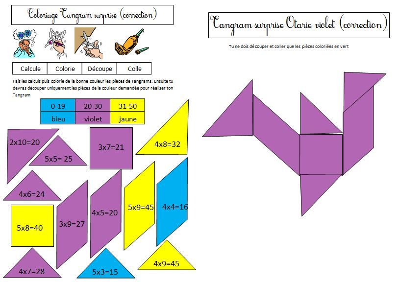 Coloriage tangram magique sur les tables de multiplication for Table de multiplication jeux ce2