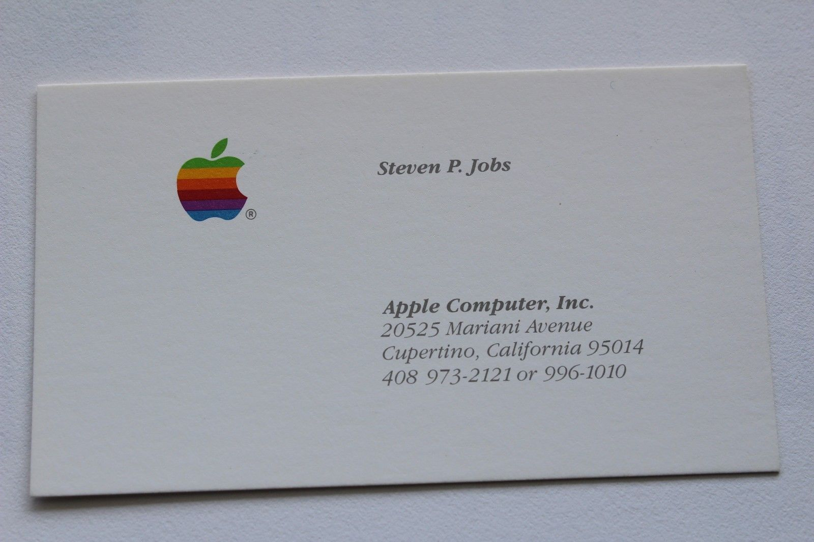 Steve Jobs 1985 Business Card Ceo Business Card Steve Jobs Apple Computer