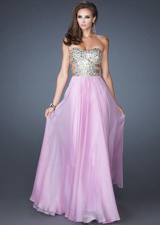 Sequin Stone Embellished Chiffon Cutout Lavender Prom Dresses-MIYA ...