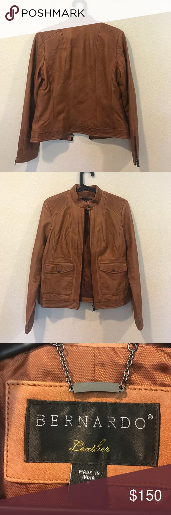 Bernardo cognac moto leather bomber jacket Amazing shape! From Lauren Kay Sims blog. No trades Bernardo Jackets & Coats