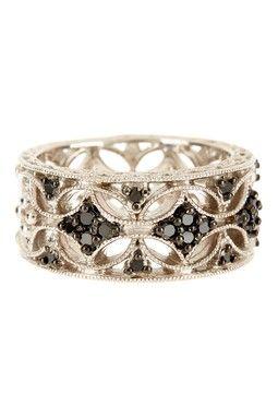 HauteLook   Black & White Diamonds: Silver Black Diamond Filigree Ring