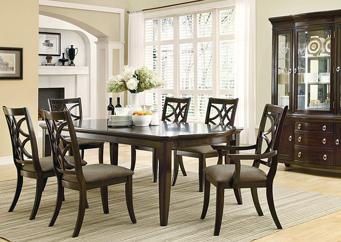 Affordable Furniture & Carpet - Chicago, IL Espresso Dining Table w/ 4 Side Chairs & 2 Arm Chairs