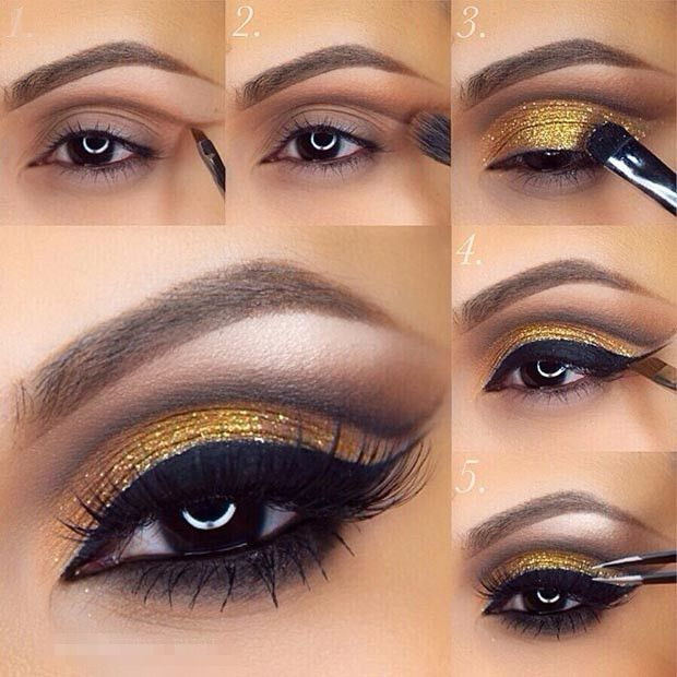 Love Dramatic Smokey Eyes? Then beautify your eyes with gliitery black & gold eye makeup! #BridalMakeup #SmokeyEyes #Makeuptips #DuskyEyemakeup #Beautiful