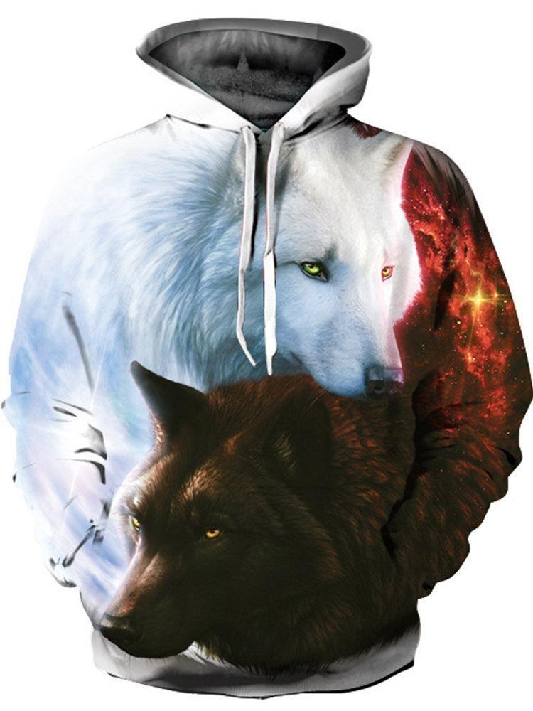 cd4176d520bc9 ... Sweatshirts for Men Online. Contrast Print Wolf Hoodies