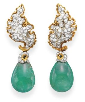 A Pair Of Emerald And Diamond Earrings, By Buccellati. Jewels: The New York Sale. 15 October 2008 #christiesjewels #buccellati
