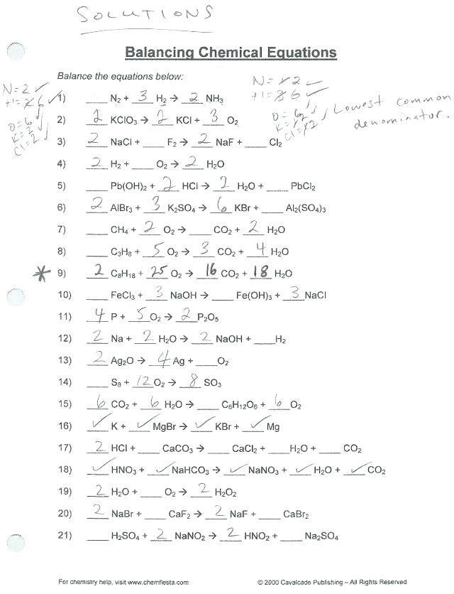 Balancing Chemical Equations Practice Worksheet Answer Key ...