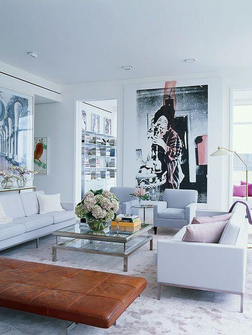 Living decorado Arquiteto: Selldorf Architects Fotógrafo: Simon Upton