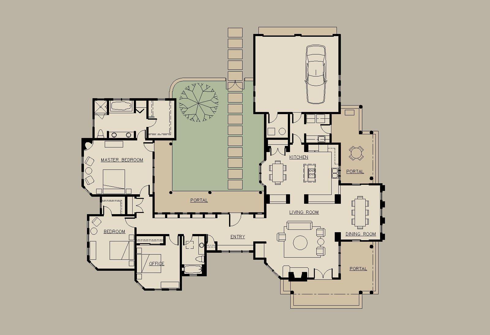 20+ Gorgeous Modern Spanish Home Designs | Courtyard house plans ...