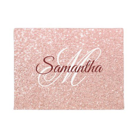 Girly Faux Rose Gold Glitter Monogrammed Doormat | Zazzle.com