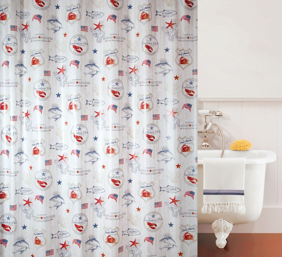 Gorgeous Spirella Lobster Pot American Style Shower Curtain From The Hamptons Collection