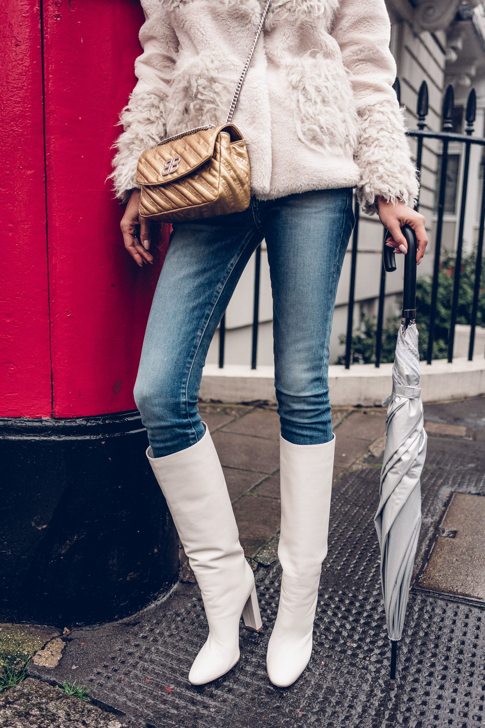 flache weiße overknee stiefel