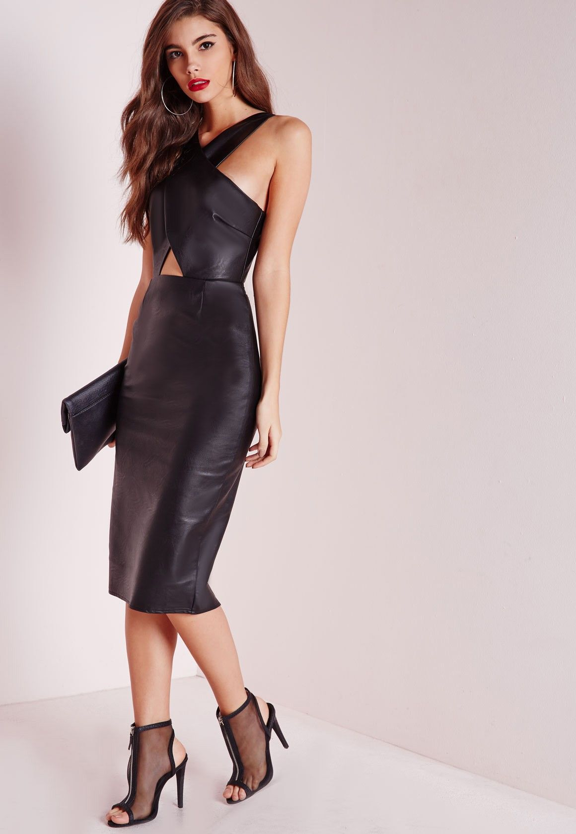 Black Leather Midi Bodycon Dress