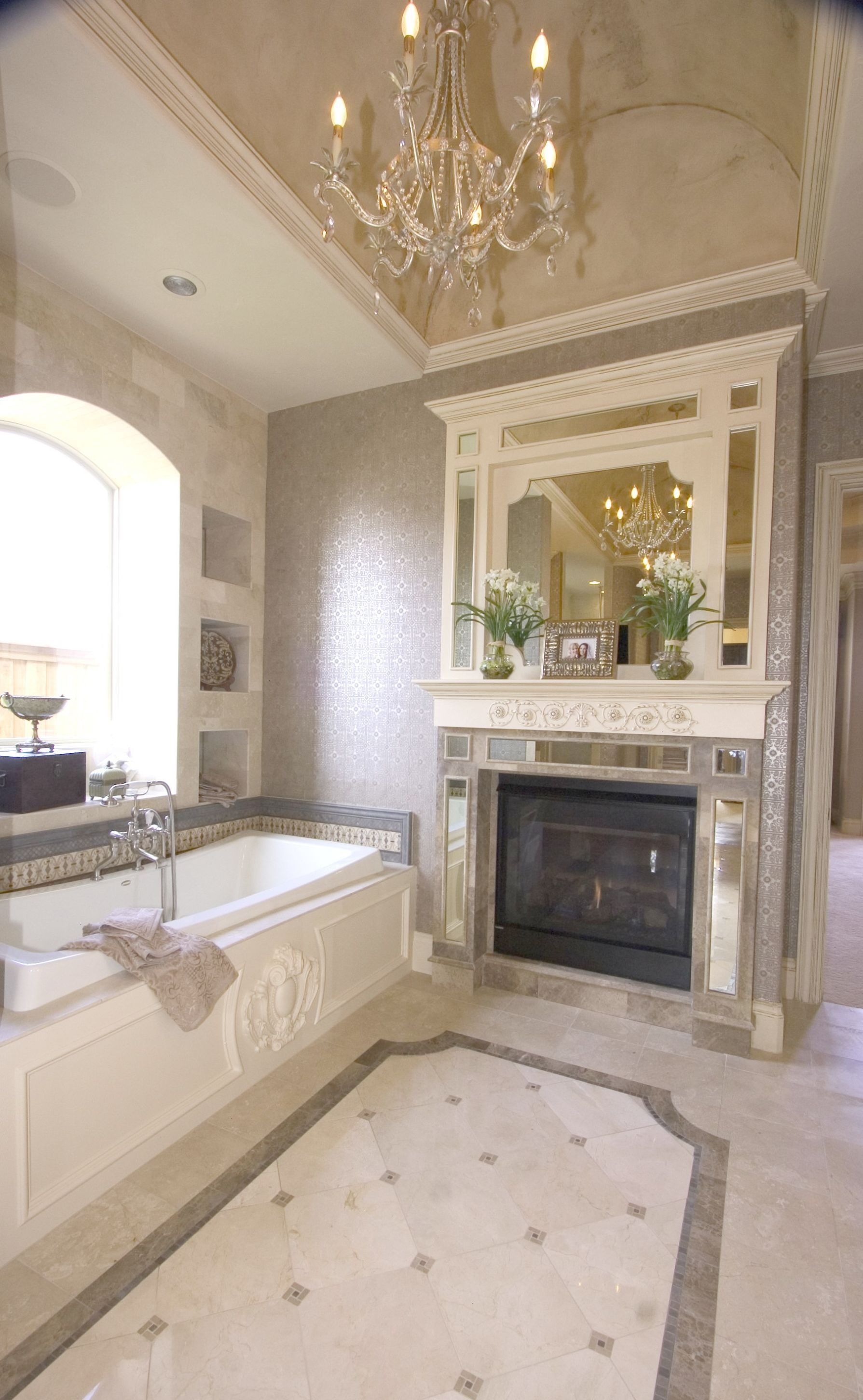 Beautiful Bath With A Fireplace Faux In Barrel Ceiling Simple Elegant