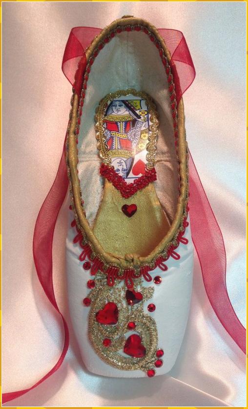 Queen of Hearts themed pointe shoe. READY TO SHIP. Alice in Wonderland.Unique Va... #Queen #Hearts #themed #pointe #shoe. #READY #SHIP. #Alice #Wonderland.Unique #Va...