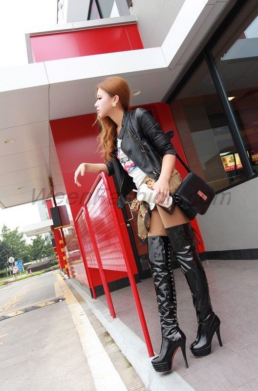 lace up ultra high heel over knee high boots asian boots. Black Bedroom Furniture Sets. Home Design Ideas