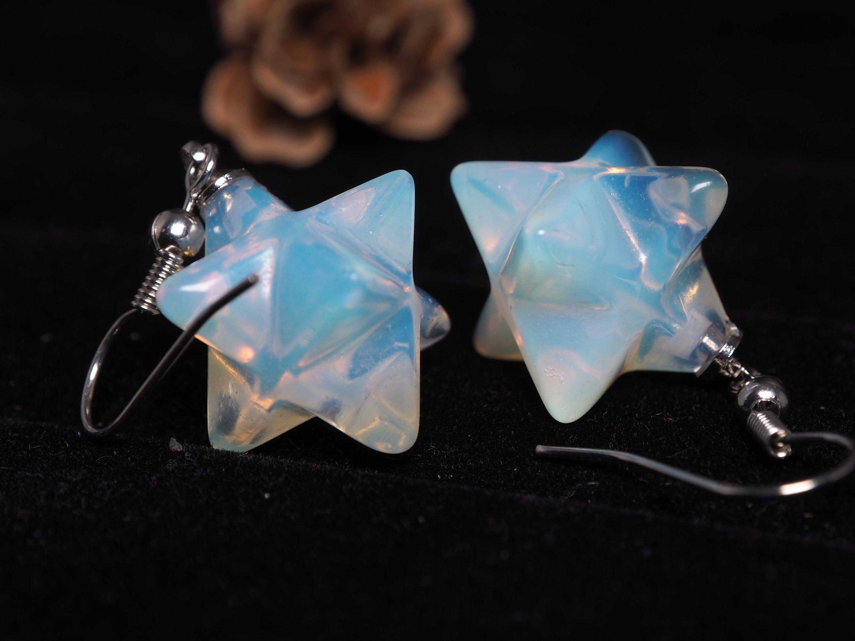 Earth star merkaba earrings turquoise jewelry birthday