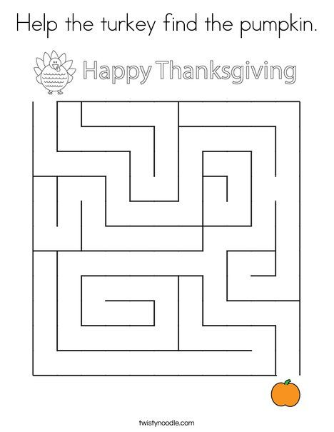 Help the turkey find the pumpkin Coloring Page - Twisty ...