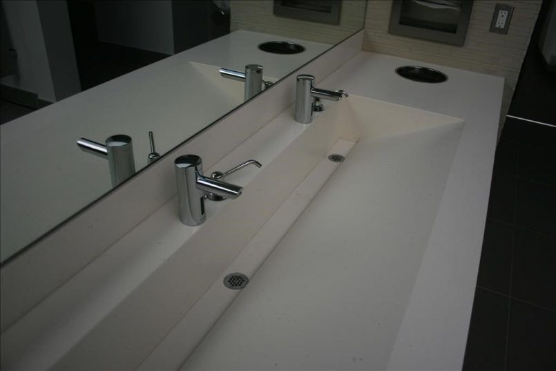 Bathroom Long Rectangle White Sink With Large Mirror Also Silver