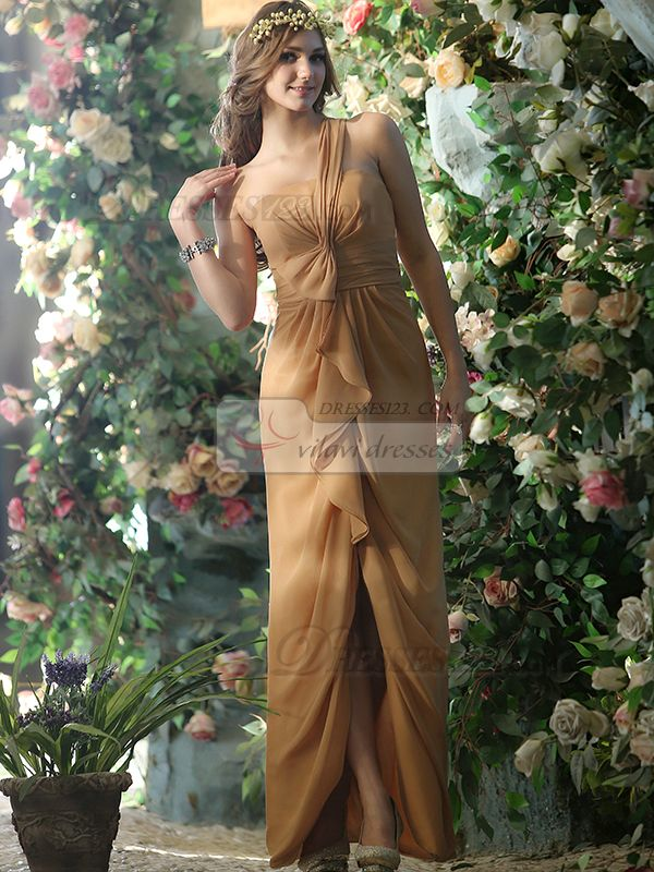 Brown One Shoulder Chiffon Bridesmaid Dresses
