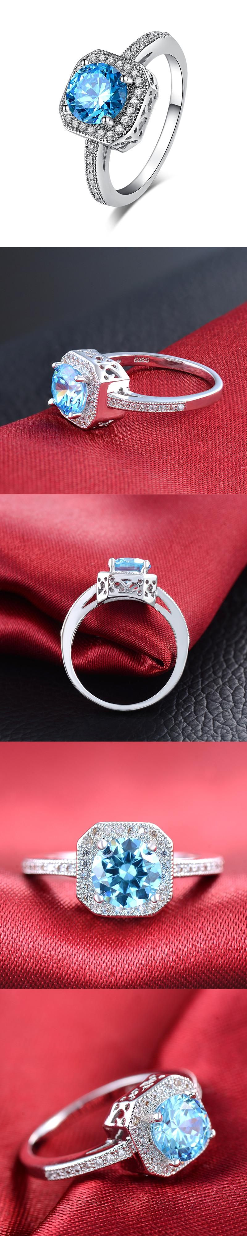 Simulated Blue Jewelry White Gold-color CZ stone Wedding Rings for ...