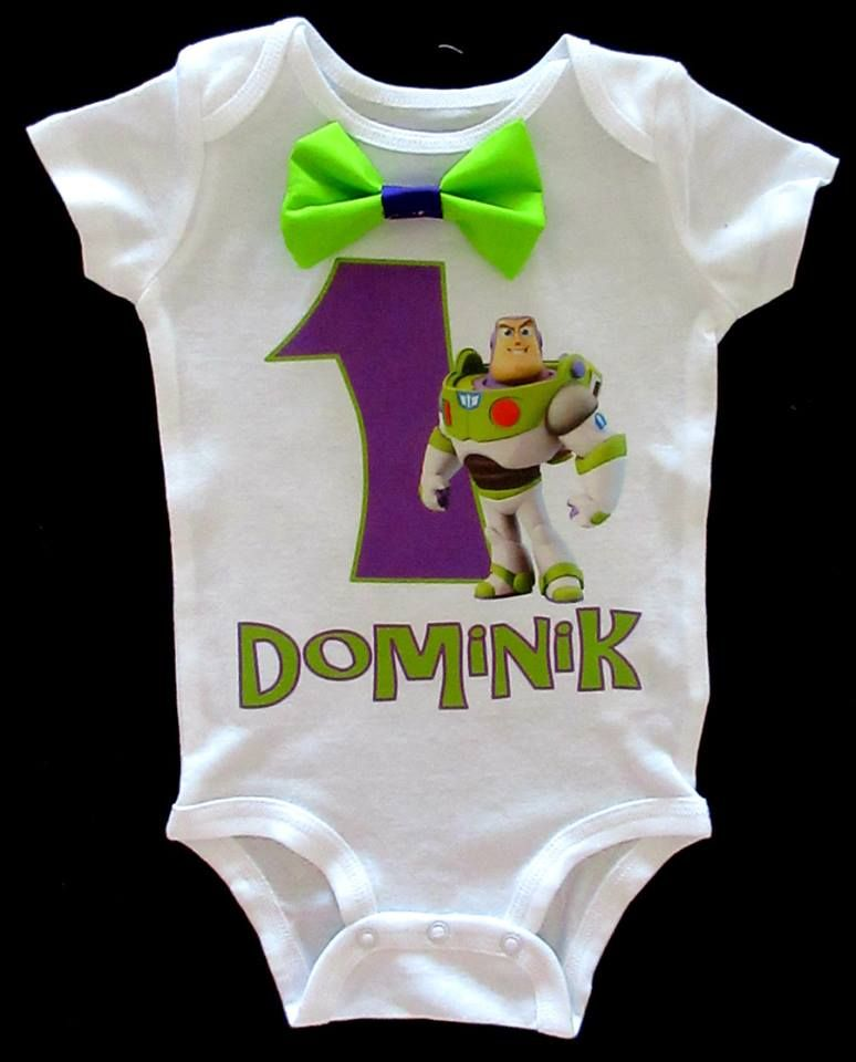 Boy's Buzz light Year Birthday Onesie with Bow Tie. Buzz