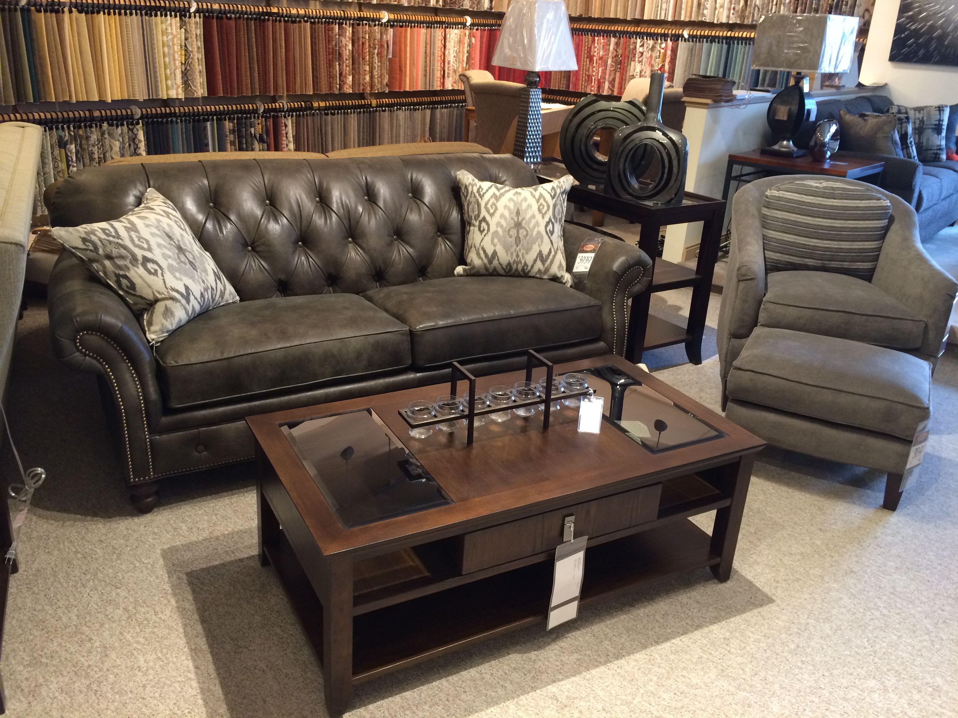 Beautiful Leather Tufted And Nailhead Trimmed Sofa